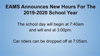 New Hours for 2019-2020 School Year