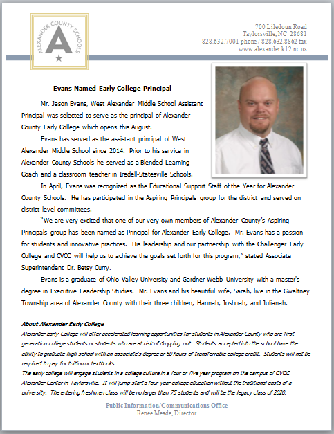 Evans Named Early College Principal