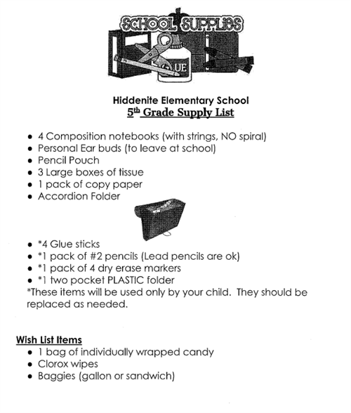 HES Fifth Grade Supply List
