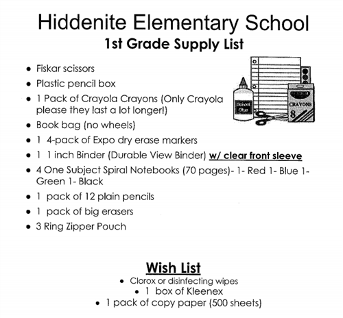 HES First Grade Supply List