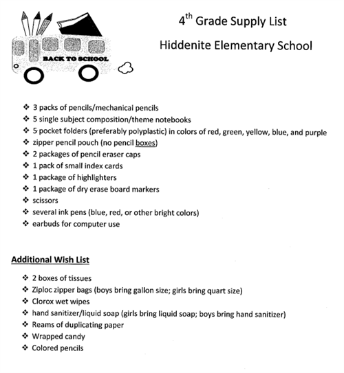 HES Fourth Grade Supply List