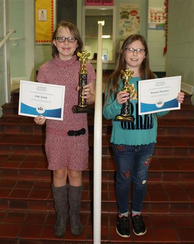 Winner and Runner-up of the Sugar Loaf Spelling Bee