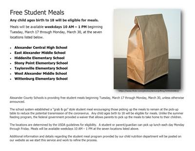 Free Student Meals begin Tuesday, March 17!