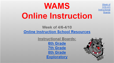 Click here for Week of 4/6-4/10 Instructional Boards