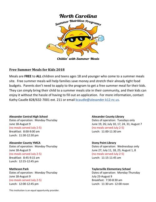 Free summer meals image