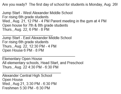 Are you ready? The first day of school for students is Monday, Aug. 26!