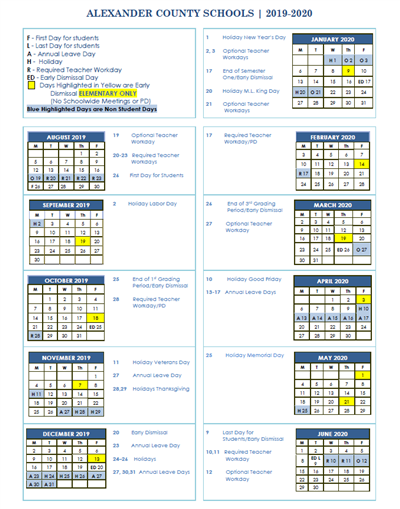 2019-2020 ACS Academic Calendar Posted
