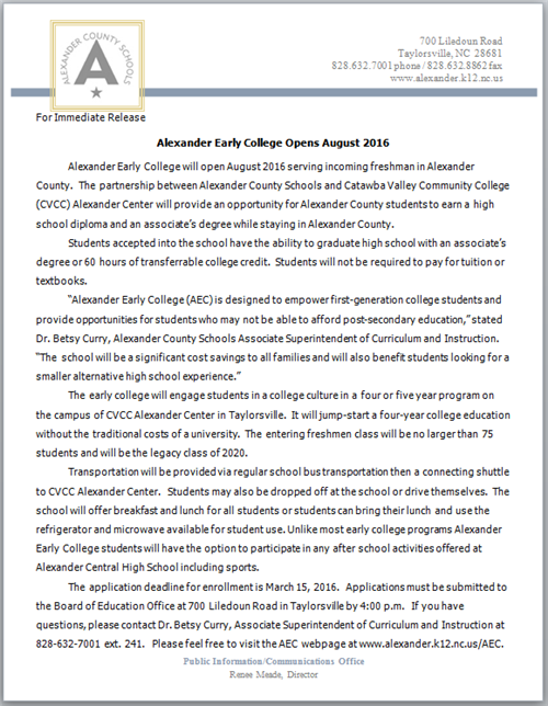 Alexander Early College Opens in August 2016