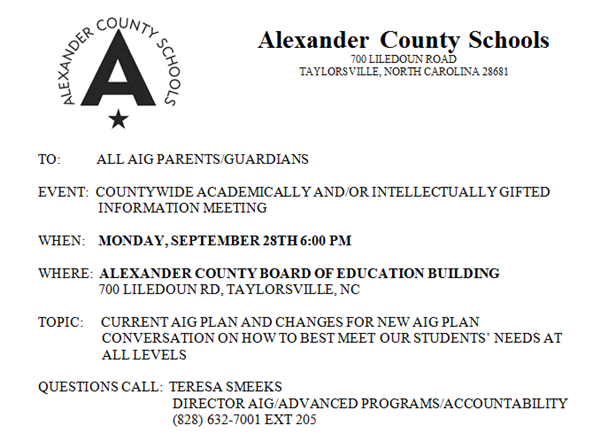 AIG Parent Meeting