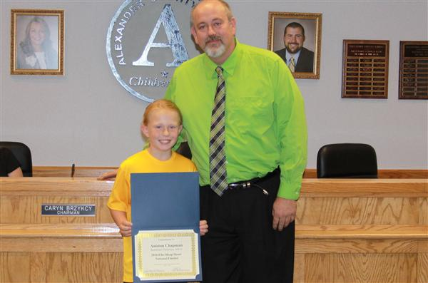 Aniston Chapman Recognized by Board of Education for National Hoop Shoot