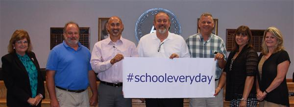 Every day in school matters! School board members sending students the message that attendance matters! School Attendance Awareness Month. #schooleveryday