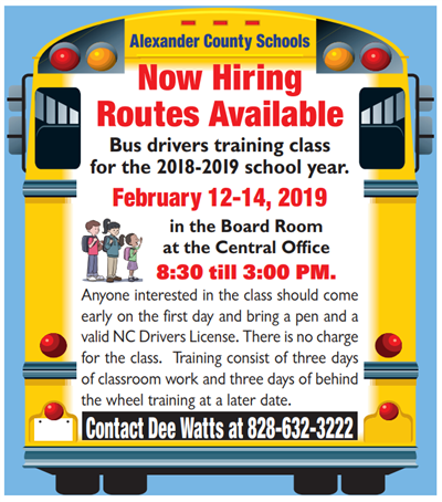 Advertisement for school bus driver training