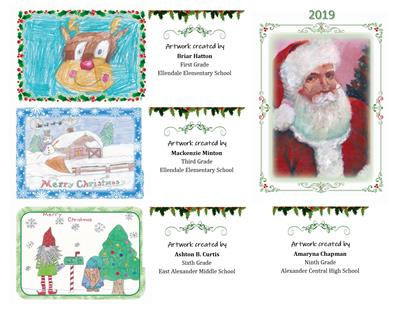 Holiday wishes from Alexander County Schools featuring student artwork