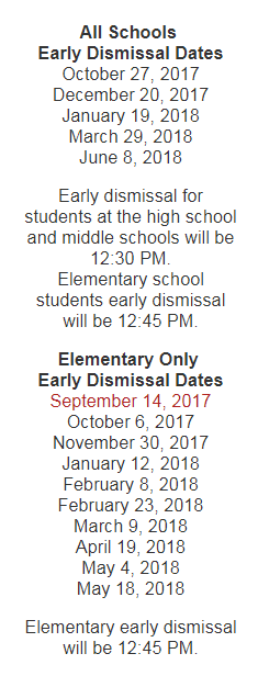 Early Dismissal Days  Announced for 2017-2018 School Year