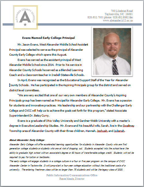 Evans Named Alexander Early College Principal