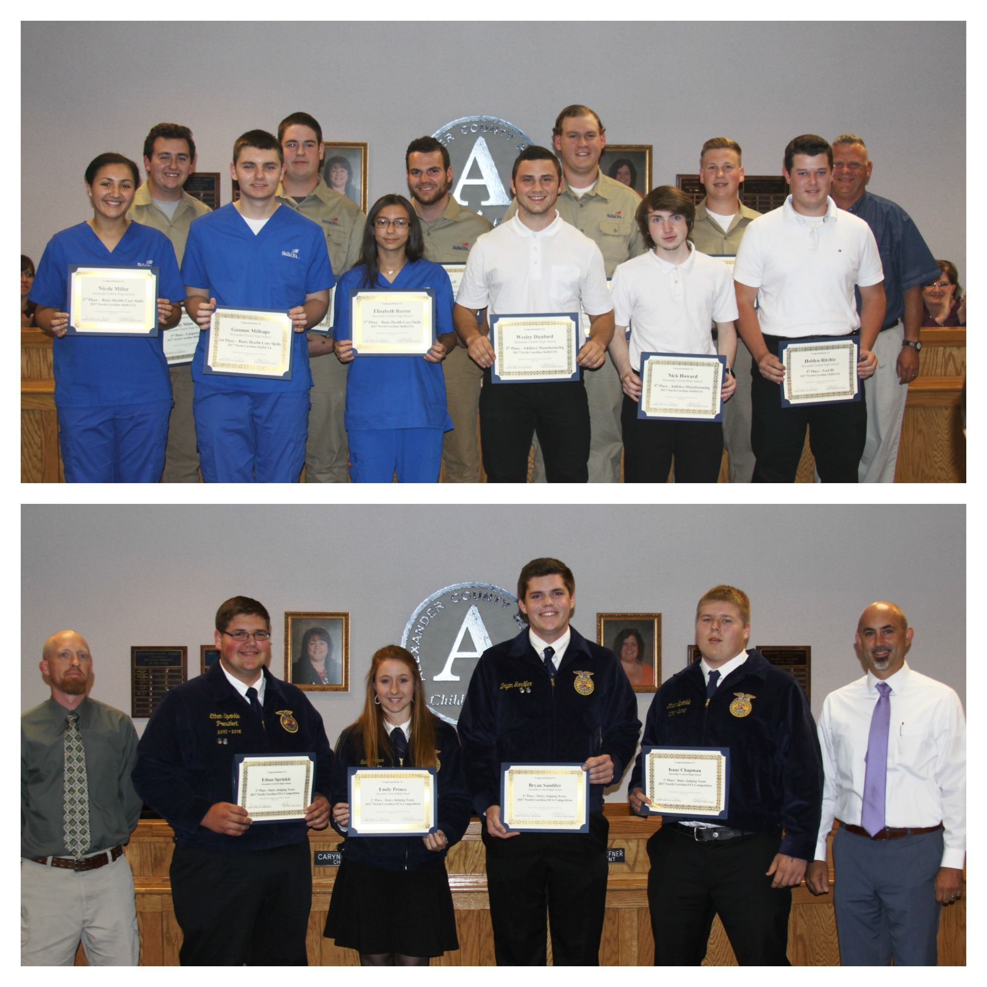 ACHS FFA and SkillsUSA Winners Recognized