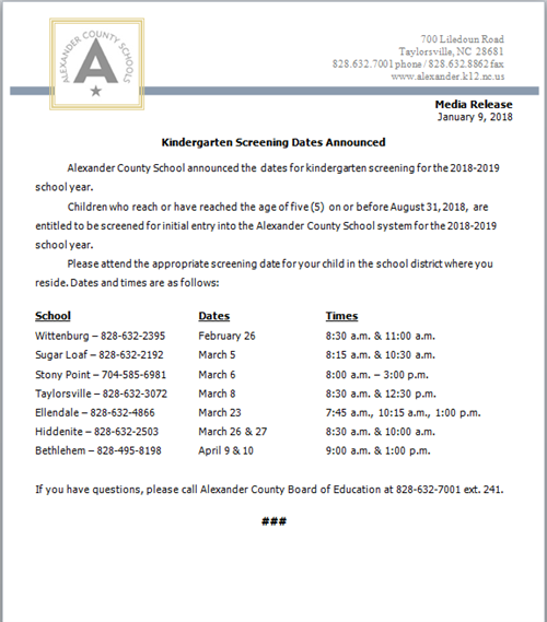 Media release announcing the kindergarten screening dates.