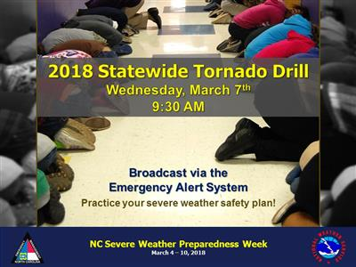 Graphic from the National Weather Service of students practicing the drill in a hallway