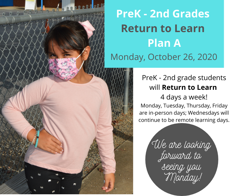 Graphic PreK - 2nd Grade Returns to Learn in Plan A
