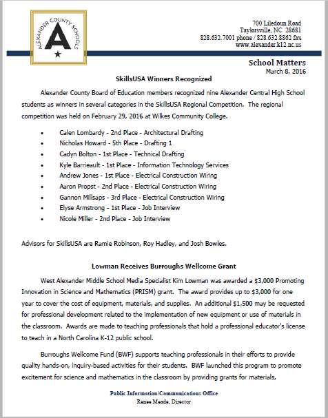 School Matters March 2016 Edition