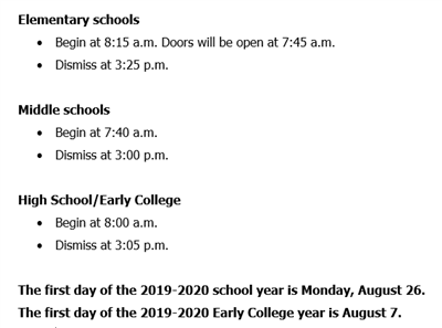 School Beginning and Ending Times graphic