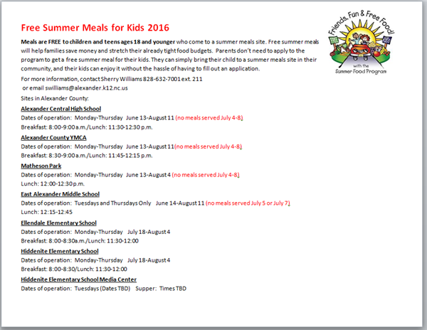 Summer Meals Announced