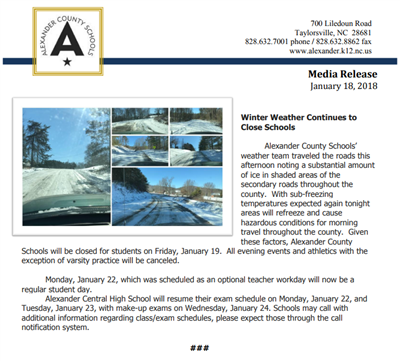 School closing media release with photos