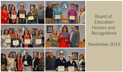 graphic collage of awards for Nov BOE meeting