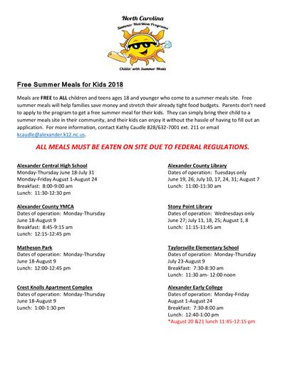 Free Summer Meals Updated