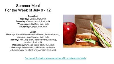 Summer Meal Menu for the Week of July 9 - 12